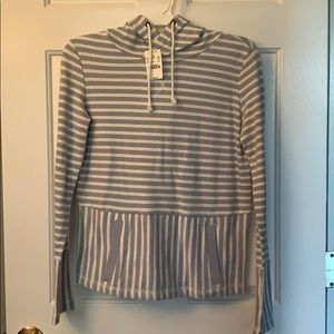 Hooded blue and white striped sweatshirt